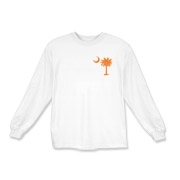 Orange and Purple South Cackalacky Palmetto Moon Kids Long Sleeve T-Shirt features the South Carolina palmetto moon logo in orange and purple on the back and a smaller, matching palmetto moon on the front.