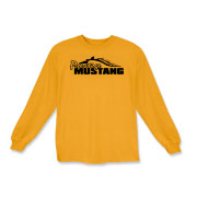 Classic Kids Long Sleeve T-Shirt features our popular Prestige Mustang Bold Logo design on the front