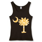 Buy a Yellow Polka Dot Palmetto Moon Women's Fitted Tank Top that features a yellow palmetto moon with white polka dots.