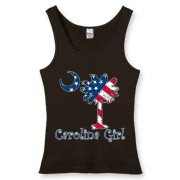 Buy a U.S. Flag Carolina Girl Women's Fitted Tank Top featuring the American flag in the background of the South Carolina palmetto moon logo.