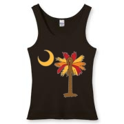 Buy a Thanksgiving Turkey Palmetto Moon Women's Fitted Tank Top and celebrate Turkey Day South Carolina style.