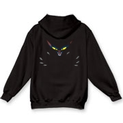 This fine dark hoodie has the Fur After Dark logo over the pocket area, and Darke Katt's scary mug emblazoned on the back, to keep people from following you too closely.