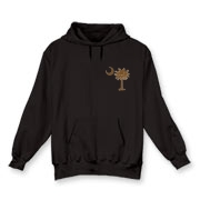 Buy a Chocolate Brown Palmetto Moon Hooded Sweatshirt featuring a smaller palmetto printed on the left chest area. The palmetto moon is a symbol of South Carolina pride.