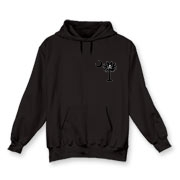 Buy a Calico Jack Pirate Palmetto Moon Hooded Sweatshirt featuring a smaller palmetto printed on the left chest area with a Calico Jack pirate flag background. The palmetto moon is a symbol of South Carolina pride.