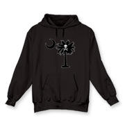 Buy a Jolly Roger Pirate Palmetto Moon Hooded Sweatshirt featuring a palmetto with a Jolly Roger pirate flag background. The palmetto moon is a symbol of South Carolina pride.