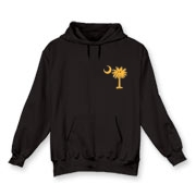 Buy a Yellow Smiley Palmetto Moon Hooded Sweatshirt featuring a smaller palmetto printed on the left chest area. The palmetto moon is a symbol of South Carolina pride.
