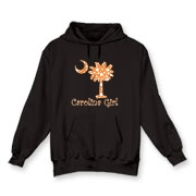 Buy an Orange Polka Dots Carolina Girl Hooded Sweatshirt featuring the South Carolina palmetto moon logo.
