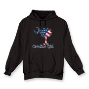 Buy a U.S. Flag Carolina Girl Hooded Sweatshirt featuring the American flag in the background of the South Carolina palmetto moon logo.