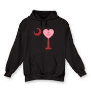 A Candy Heart Palmetto Moon Hooded Sweatshirt with Be Mine! Perfect for Valentine's Day, it features a pink candy heart on the South Carolina Palmetto Moon with Be Mine.