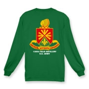 158th Artillery, MLRS - Dark Color Long Sleeve T-Shirts: Front & Back Insignia, Available in 15 Dark Colors.