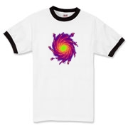 This flashy art ringer t-shirt looks like a colorful, spiral galaxy.