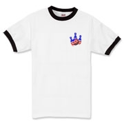 This bowling ringer t-shirt with stars and stripes pocket emblem design shows bright colored bowling pins and a colorful bowling ball, all wrapped in stars and stripes.