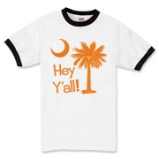 Say hello with the Orange Hey Y'all Palmetto Moon Ringer T-Shirt. It features the South Carolina palmetto moon.