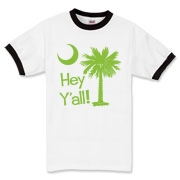 Say hello with the Lime Green Hey Y'all Palmetto Moon Ringer T-Shirt. It features the South Carolina palmetto moon.