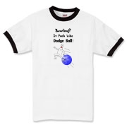 This zany bowling shirt shows an agile bowling pin scrambling from a speeding bowling ball. The caption says: Bowling? It Feels Like Dodge Ball.