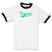 Vegan in green/blue uniform style lettering. Simple text design. Playing for the vegan team.