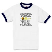 This zany astronomy ringer t-shirt uses a clever limerick to tell of the Huygens probe adventure. It shows a depiction of Saturn and its giant moon Titan.