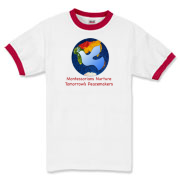 Montessorians Nurture Tomorrow's Peacemakers!  This fun and colorful design features an image of a dove, overlaid over the Easter Hemisphere (in the colors used in a Montessori classroom).  This design was created by South Carolina artisan and primary d