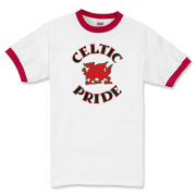 This is a Welsh dragon ringer t-shirt emblazoned with the words 'Celtic Pride' in knotwork. Perfect for those craving cool Wales apparel or great for...uh, dragon lovers. Be proud to support the Celtic nations...Murchada Outfitters!