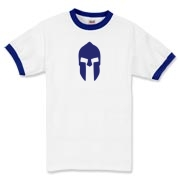 This Spartan helmet ringer t-shirt is colored with the proud blue of the Greek flag! It's a great way to show Greek pride and remember the Spartans!