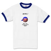 This nifty cartoon bowling ball ringer t-shirt shows a smiling bowling ball caricature decked out in red, white and blue. The caption says: BOWL! (It's Your Constitutional Right).