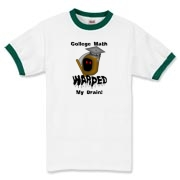 This sarcastic college math ringer t-shirt says: College Math Warped My Brain! It includes an image of the Draconian math teacher -- the Grim Reaper.