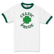 This very Irish ringer t-shirt features a Celtic four-leaf clover with 'Celtic Pride' in knotwork. This Celtic tee is as lucky as a pot o' shamrocks! Wear this Murchada Outfitters apparel on St. Patrick's Day or 365 a year!