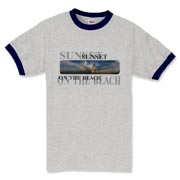 A beach at sunset with distressed look text, a unique design for beach babies.