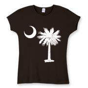 Buy a White Palmetto Moon Women's Fitted Baby Rib Tee. The palmetto moon is a symbol of South Carolina pride.