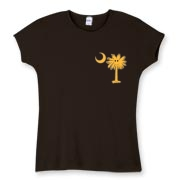 Buy a Yellow Smiley Palmetto Moon Women's Fitted Baby Rib Tee featuring a smaller palmetto printed on the left chest area. The palmetto moon is a symbol of South Carolina pride.
