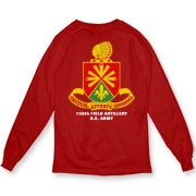 158th Artillery, MLRS - Dark Color Organic Long T-Shirts: Front & Back Insignia, Available in 4 Dark Colors.