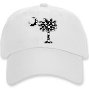 Buy a Black Polka Dot Palmetto Moon Deluxe Cotton Hat that features a black palmetto moon with white polka dots.