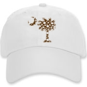 Buy a Chocolate Brown Polka Dot Palmetto Moon Deluxe Cotton Hat that features a brown palmetto moon with white polka dots.