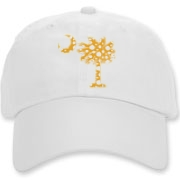 Buy a Yellow Polka Dot Palmetto Moon Deluxe Cotton Hat that features a yellow palmetto moon with white polka dots.