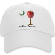 Buy a Carolina Teacher School Apple Palmetto Moon Deluxe Cotton Hat that features the South Carolina palmetto with an apple and chalkboard moon.