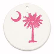 Buy a Pink Palmetto Moon Round Ornament. The palmetto moon is a symbol of South Carolina pride.