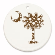 Buy a Chocolate Brown Polka Dot Palmetto Moon Round Ornament that features a brown palmetto moon with white polka dots.