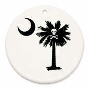 Buy a Jolly Roger Pirate Palmetto Moon Round Ornament featuring a palmetto with a Jolly Roger pirate flag background. The palmetto moon is a symbol of South Carolina pride.