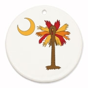Buy a Thanksgiving Turkey Palmetto Moon Round Ornament and celebrate Turkey Day South Carolina style.