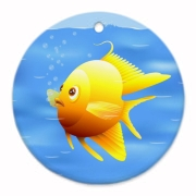 Gold fish in blue water digital illustration.