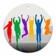 Young business team: people jumping, celebrating success, digital illustration.
