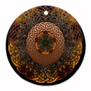Celtic Knots Appear in copper tones over a kaleidoscope created by a photograph taken on a fall drive in Wisconsin of vibrantly red and yellow birch trees.