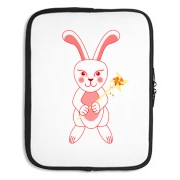 Celebrate Chinese New Year with this cute year of the metal rabbit laptop sleeve! This rabbit is happily carrying a red and gold pinwheel with bells! Also a great gift for someone who just loves rabbits! Red Version.