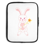 Celebrate Chinese New Year with this cute year of the metal rabbit laptop sleeve! This rabbit is happily carrying a red and gold pinwheel with bells! Also a great gift for someone who just loves rabbits! Pink Version.