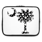 Buy a Black Polka Dot Palmetto Moon Laptop Sleeve that features a black palmetto moon with white polka dots.