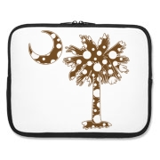 Buy a Chocolate Brown Polka Dot Palmetto Moon Laptop Sleeve that features a brown palmetto moon with white polka dots.