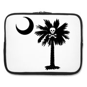 Buy a Jolly Roger Pirate Palmetto Moon Laptop Sleeve featuring a palmetto with a Jolly Roger pirate flag background. The palmetto moon is a symbol of South Carolina pride.