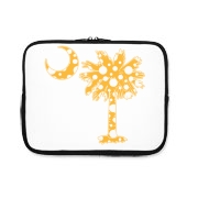 Buy a Yellow Polka Dot Palmetto Moon iPad Sleeve that features a yellow palmetto moon with white polka dots.