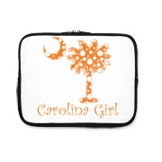Buy an Orange Polka Dots Carolina Girl iPad Sleeve featuring the South Carolina palmetto moon logo.