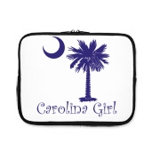 Buy a Purple Carolina Girl iPad Sleeve featuring the South Carolina palmetto moon logo.